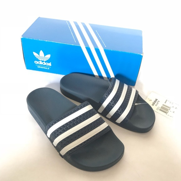 cd12b0a4e2b114 BNWT Adidas Originals Navy Pool Slides